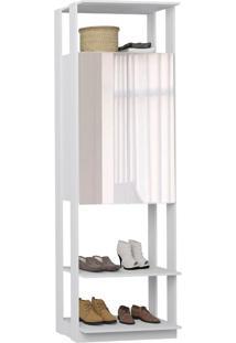 Guarda-Roupa Closet 2 Portas Com Espelho 70 Cm Branco - Bentec