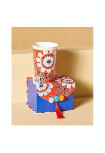 Vaso De Porcelana Estampada Cor: Vermelho - Tamanho: Único