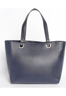 Bolsa Em Couro Com Logo Da Marca - Azul Marinho - 28Mr. Cat