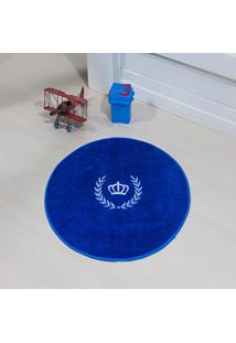 Tapete Formato Feltro Antiderrapante Coroa Ramo Azul Royal - Multicolorido - Dafiti