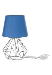 Abajur Diamante Dome Azul Com Aramado Cromado
