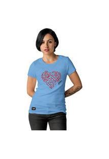 Camiseta Feminina Cellos Heart Premium Azul Claro