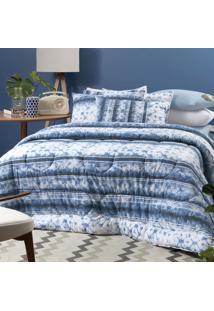 Edredom Solteiro Altenburg Malha In Cotton 100% Algodão - Blue Dream Azul
