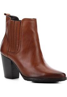 Bota Cano Curto Shoestock Couro Elástico Feminina