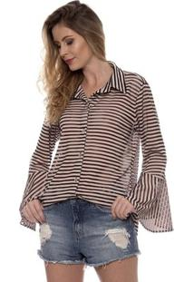 Camisa Bisô Listrada Feminina - Feminino-Rosê