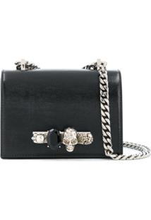 Alexander Mcqueen Jewelled Lizard-Effect Cross-Body Bag - Preto