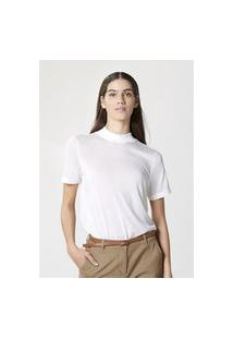 Blusa Hering Básica Em Liocel Gola Alta Oversized Off White