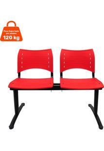 Cadeira Longarina 2 Lugares Vermelha Evidence Executiva