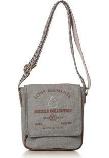 Bolsa Blue Bags Tiracolo Reciclada Bordado Água Feminina - Feminino-Cinza