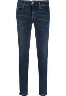 Diesel Calça Jeans Skinny Slandy Com Zíper - Azul