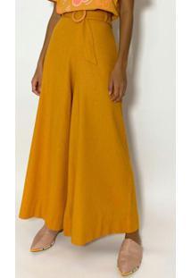 Calça Pantalona Com Fivela Amarelo