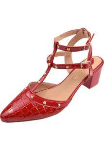 Scarpin Rosa Chic Calçados Tachas Spike Verão Vermelho