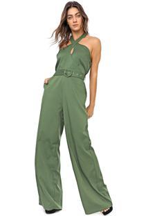 Macacã£O Queens Paris Pantalona Liso Verde - Verde - Feminino - Poliã©Ster - Dafiti