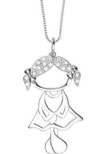 Pingente Menina Vazado Ouro Branco E Diamantes 36 Mm