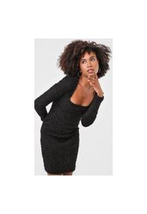 Vestido Tricot Colcci Curto Pelo Preto