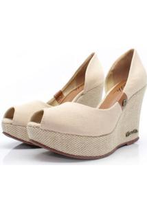 Scarpin Barth Shoes Noite Lona - Bege - Bege - Feminino - Lona - Dafiti