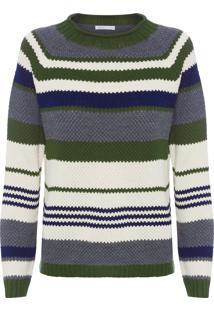 Blusa Feminina Tricot Listrado - Verde