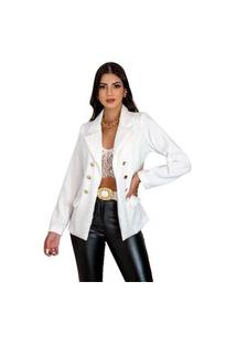 Blazer Clássico Feminino Alfaiataria Atemporal Chique Preto Tipo Balmain Maravilhoso Branco