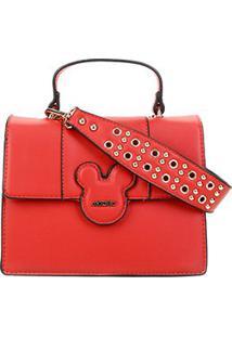 Bolsa Gash Mickey Estruturada Tampa Feminina - Feminino-Vermelho