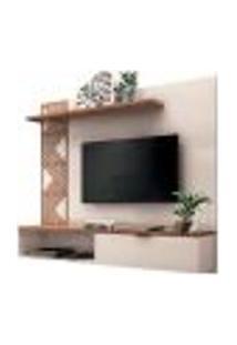 Painel Bancada Suspensa Para Tv Até 50 Polegadas Grid Off White/Nature - Hb Móveis