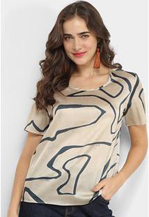 Blusa Carmim Tshirt Feminina - Feminino-Estampado