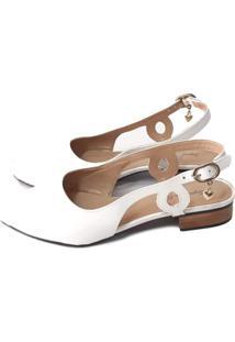 Scarpin Sapatos E Botas Slingback Couro Branco - Kanui