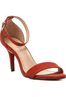 Sandália Couro Shoestock Salto Fino Básica Feminina - Feminino-Caramelo