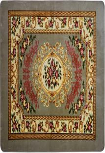 Tapete Raschel Floral- Cinza & Marrom Claro- 180X66Csultan