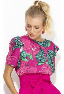 Blusa De Viscose Estampada Rosa