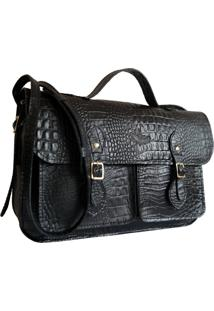 Bolsa Line Store Leather Satchel Pockets Média Couro Preto Croco.