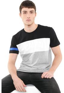 Camiseta Calvin Klein Jeans Color Block Preta/Cinza