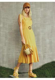Vestido Midi De Viscose Amarelo