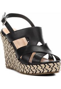 Sandália Plataforma Couro Shoestock Tranças Étnicas Feminina - Feminino