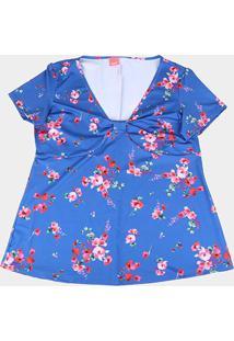 Blusa Wee! Plus Size Gola V Floral Feminina - Feminino-Azul
