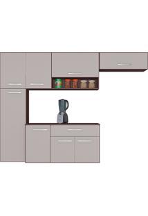 Cozinha Compacta Suspensa Poquema 8 Portas 1 Gaveta Anita Capuccino/Off White