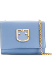 Furla Bolsa Transversal Com Placa De Logo - Azul