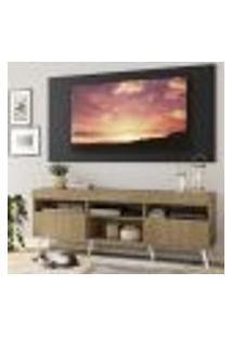 """Rack Com Painel Tv 65"""" Londres Multimóveis Pés Retrô E 2 Portas Rustic/Preto/Branco"""