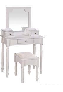 Penteadeira 3 Gavetas Com Espelho E Puff 1041 Branco Provençal - Urbe Móveis