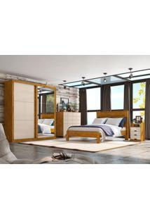Dormitório Casal Lara C/ Espelho Nature Off White Madeirado Robel Móveis