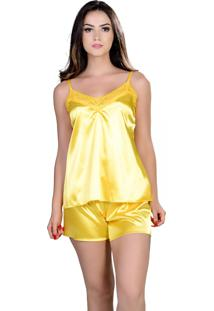 Short Doll Yasmin Lingerie Silk Satin Amarelo