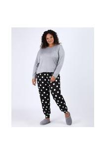 Pijama Feminino Plus Size Com Bolso E Estampa De Poá Manga Longa Cinza Mescla