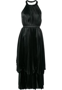 Parlor Pleated Layered Dress - Preto