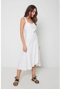 Vestido Oh, Boy! Amarração Risca De Giz Listra Feminino - Feminino-Off White