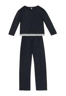 Pijama Longo Feminino Com Renda Preto