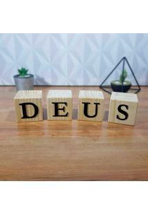 Cubo Decorativo Com Letras Em Acrílico Deus -