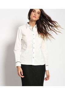 Camisa Com Recortes & Vivos- Off White & Pretavip Reserva