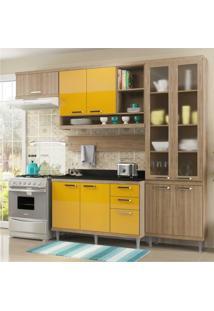 Cozinha Completa Multimóveis Com 6 Peças Sicília 5817 Argila/Amarelo