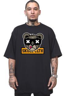 Camiseta Manga Curta Skull Clothing Urso Skull Preto
