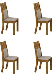 Conjunto Com 4 Cadeiras Havaí Canela E Pena Palha
