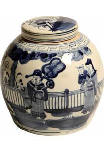 Vaso Decorativo De Porcelana Com Tampa Alcott